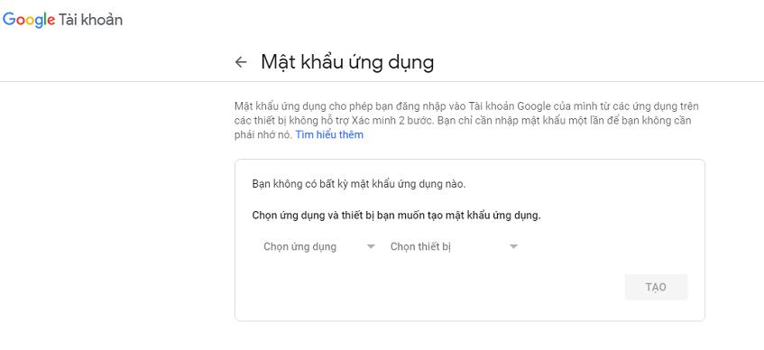 Cách tạo mật khẩu ứng dụng Google