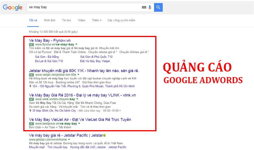 Quảng cáo trực tuyến Google Adwords