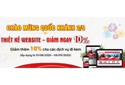 Chào mừng Quốc khánh 2/9 - Giảm giá 10% dịch vụ Website